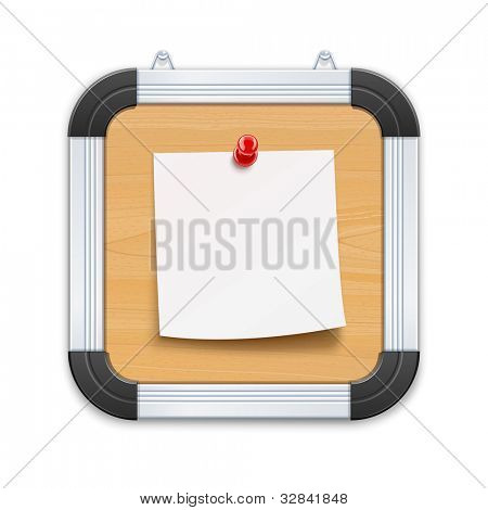 wooden board with notice and pin vector illustration isolated on black background EPS10. Transparent objects and opacity masks used for shadows and lights drawing