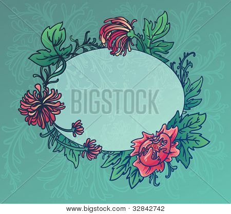 Oval Blue Background With Flowers And Leaves Of Chrysanthemum