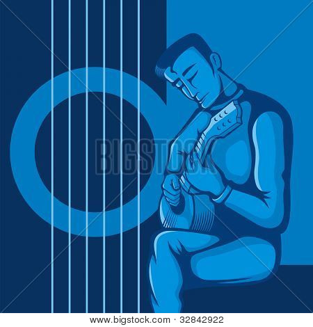 The Guitarist On Blue