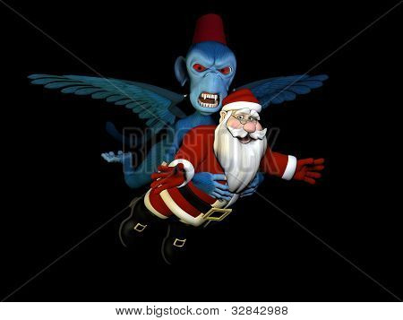 Santa Captured By Flying Monkey