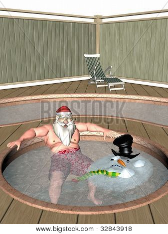 Santa And Frosty Hot Tub