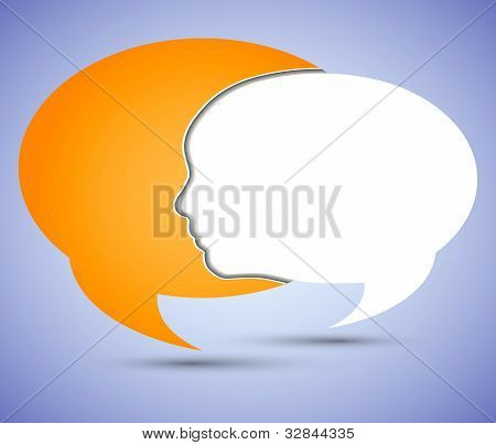 Vector Concept Face And Bubble Speech With Place For Your Message. Eps10