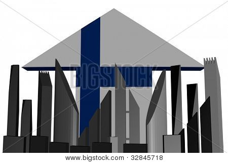 abstract skyline and Finnish flag arrow illustration