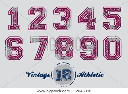 Números de camiseta deportiva angustiado Vintage