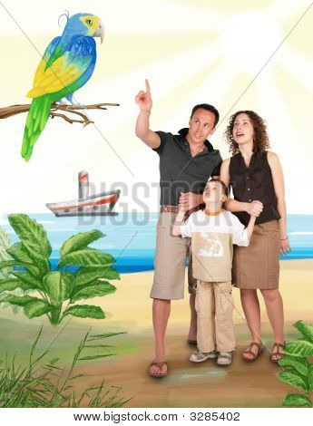 Father Pointed Parrot In Drawing Jungle