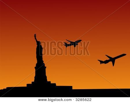 Statue Of Liberty With Planes Departing