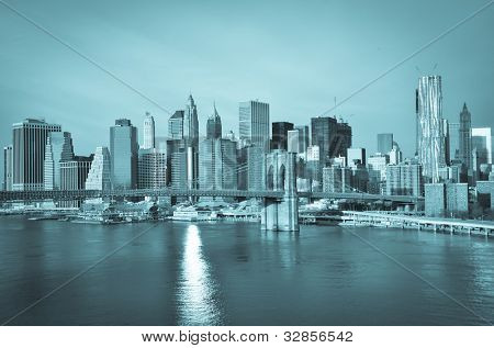 New York City, Brooklyn Bridge with Lower Manhattan background - Split toned