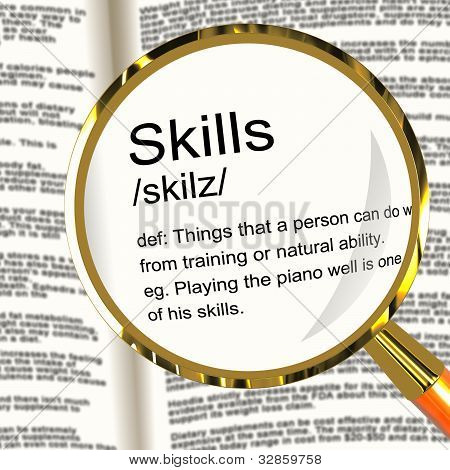 Skills Definition Magnifier Showing Aptitude Ability And Compete