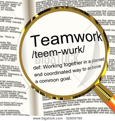 Teamwork Definition Magnifier Showing Combined Effort And Cooperation