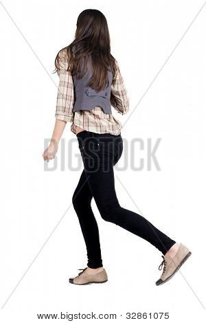 back view of running brunette girl. girl walking on the motion move. Rear view people collection.  backside view of person. Isolated over white background.