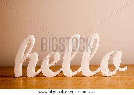Hello on Wooden Board