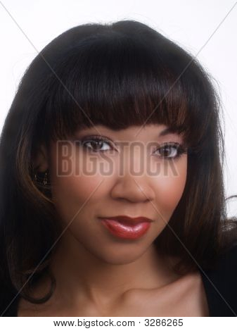 Closeup Portrait Of Young Black Woman Pretty