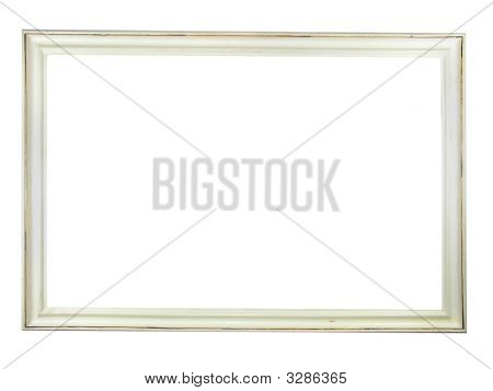 Old Antique White Wooden Picture Frame With Empty Place For Text Or Image Isolated