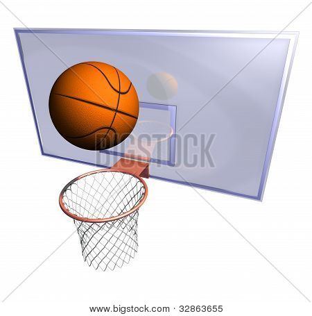 Basketball hoop and basketball ball