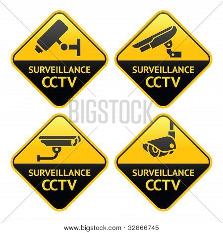 Security camera pictogram, video surveillance, set CCTV symbols