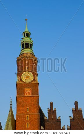 clock tower of city hall, Wroclaw