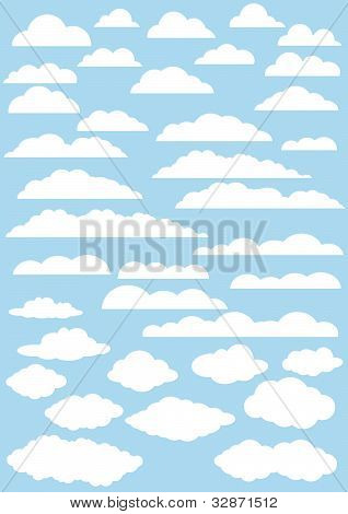 Vector Clouds Collection. 37 Cute Clouds