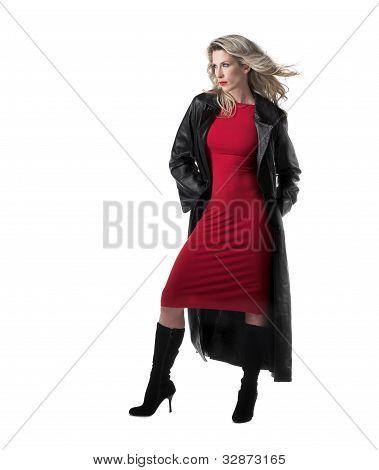 Beautiful, slim blonde woman, red dress, black leather coat
