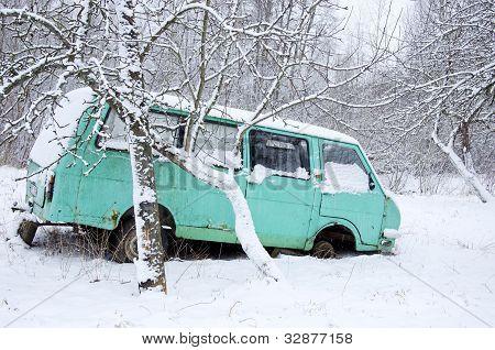 Old Broken Minibus Covered With Snow Winter Garden