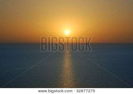 Sunset Sky And Sea Horizon