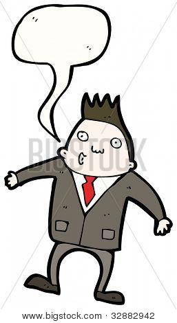 cartoon man in suit with speech bubble