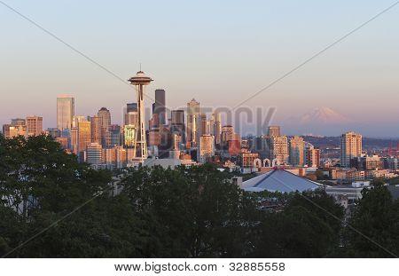 Golden Sunset Falls On Seattle