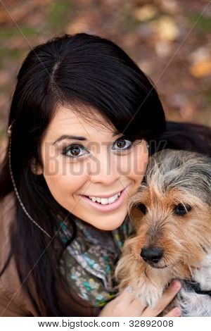 Spanish Woman With Borkie Dog