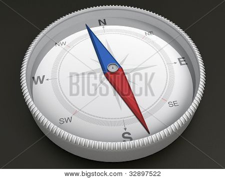 Compass on dark background - 3d Object Series
