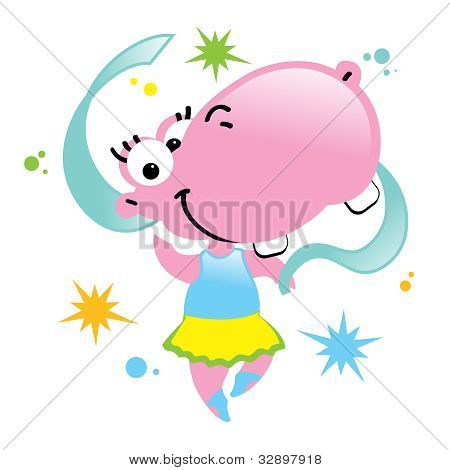 Happy Hippo Dance Ballerina