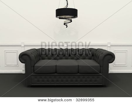 Sofa With Chandelier In Black And White Classic Interior