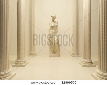 Ancient Statue Of A Nude Venus In The Middle Of Perspective Pillars