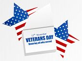Veterans Day 11Th Of November. Honoring All Who Served. Calendar With A Festive Date. Five-pointed S poster