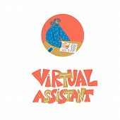 Virtual Assistant Icon With Text Isolated. Cute Girl Assistant Avatar With Headset Speaking. Hand Dr poster