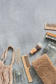 Bath And Home Accessories. Cotton Bag, Glass Jar, Wooden Comb, Wooden Shaving Brush, Cuticle Pusher, poster