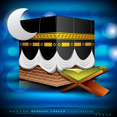 stock photo of kaba  - Beautiful Qaaba Sharif of Qaba with holy book Quran and moon on modern abstract blue background - JPG