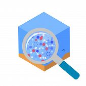 Open, Sea Water Analysis. Molecules Of Oil, Petrol, Lead In Water. Vector Concept Illustration, Icon poster