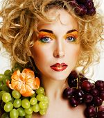 Beautiful Young Woman Portrait Excited Smile With Fantasy Art Hair Makeup Style, Fashion Girl With C poster