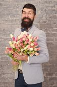 Womens Day. Love Bouquet. International Holiday. Bearded Man With Tulip Bouquet. Flower For March 8. poster