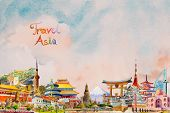 Travel Around The World And Sights. Famous Landmarks Of The World Grouped Together. Watercolor Hand  poster