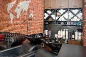 Hairdressers Workplace. Modern Beauty Salon. Hair Salon Interior Business. poster