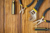 Tools For Master Builder And Accessories Set On Wooden Vintage Background For The Master Builder poster