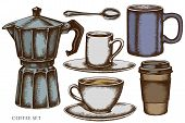Vector Set Of Hand Drawn Colored Coffee Cups, Teaspoon, Paper Cup, Espresso Cup, Coffee Pot, Cups St poster