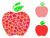 Apple Mosaic Of Uneven Items In Variable Sizes And Color Hues, Based On Apple Icon. Vector Uneven It poster