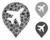 Airplane Marker Mosaic Of Inequal Parts In Different Sizes And Shades, Based On Airplane Marker Icon poster