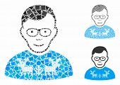 Nerd Guy Mosaic Of Unequal Pieces In Various Sizes And Color Hues, Based On Nerd Guy Icon. Vector Tr poster