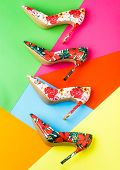 Colorful Leather Shoes Stiletto. Bright Colored Women Shoes. Beauty Fashion Concept, Stiletto. Styli poster