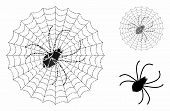 Spider Net Mosaic Of Raggy Items In Various Sizes And Shades, Based On Spider Net Icon. Vector Tremu poster