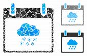Snow Cloud Calendar Day Composition Of Trembly Parts In Various Sizes And Color Hues, Based On Snow  poster