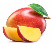 Mango fruit with mango slices. Isolated on a white background. File contains clipping path. poster