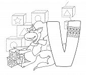 Letter V And Funny Cartoon Unicorn. Animals Alphabet A-z. Coloring Page. Printable Worksheet. Handwr poster